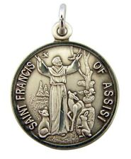Saint St Francis of Assisi with Animals 7/8 Inch Sterling Silver Medal Pendant