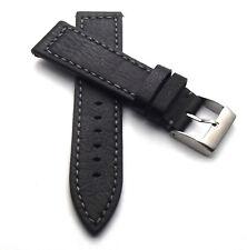 22 mm Uhrenarmband schwarz Uhrband echt Büffel Leder Uhren Armband, heller Naht