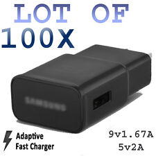 LOT 100x BLACK Adaptive Fast Wall Charger For Samsung S6 S7 Edge Note56 RealFast