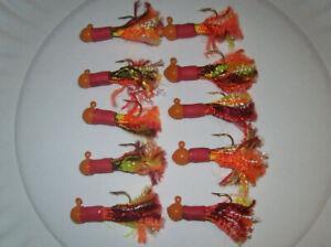 10pk Crappie Eagle Claw #4 jig hooks 1/16 oz Orange head red body rainbow skirt