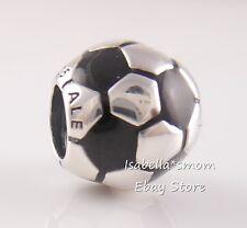 Fifa SOCCER BALL/FOOTBALL Authentic PANDORA Silver BLACK ENAMEL 790406 Charm NEW