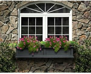 Window Box 11 in. x 60 in. Plastic Double Wall Design with 5 Wall Mount Brackets