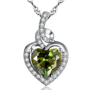 Heart Birthstones Pendant 925 Sterling Silver Peridot Necklace With Zirconia