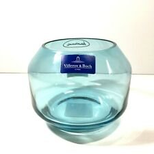 Villeroy & Boch Soulmates Decolite Petrol Blue Glass Votive Candle Holder Bowl