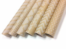"""Kraft and White Wrapping Paper - 6 Rolls - 6 Patterns - 30"""" x 120"""" per Roll"""