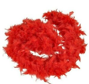 Red Genuine Feather Boa Dress Up Party Decoration 6' long Halloween