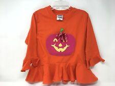 Kelly's Kids Girls Shirt Halloween Pumpkin Applique X-Small 3-4 Orange Monogram