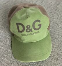 New DOLCE & GABBANA BASEBALL HAT Green And Brown Made In ITALY Medium Cotton