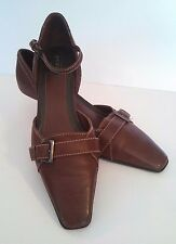 Aerology by Aerosole Trivia Brown Leather Kitten Heel  Size 7.5