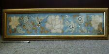 Beautiful antique old gold thread framed tapestry embroidery Chinese Silk