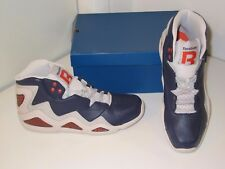 Reebok Sermon Hi Top Retro Basketball Blue Steel Orange Sneakers Shoes Mens 9.5