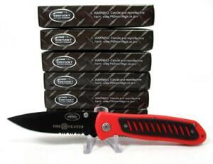 Wholesale Lot of 6 Fire Fighter Liner Lock Pocket Knives Knife Red Fireman Dept