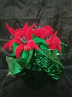Vintage Handmade Lighted Christmas Poinsettia Decoration Red & Green Pipe Cleane