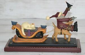 Vintage Williraye Studio Santa Claus On Reindeer Pulling Sleigh WW2218 1997