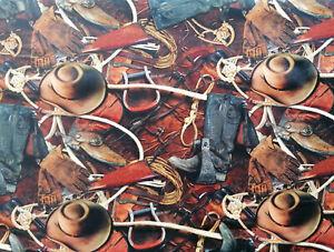 Sattel 10 X 112 cm Baumwollstoff Digitaldruck Rodeo Lasso Handschuhe Hut Stiefel