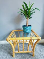 Vintage Retro Bamboo Cane Coffee Side Square Table Glass Topped Boho Tiki Hippy