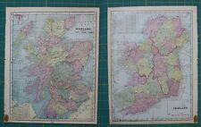 Scotland Ireland Vintage Original 1899 Cram's World Atlas Map Lot