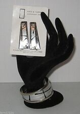 KATZ & TURNER Signed .925 Sterling/Black and Silver Cuff Bracelet & Earrings