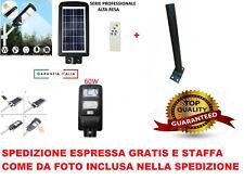 Faro led lampione stradale 60w pannello solare crepuscolare telecomando + staffa