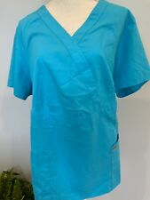 Greys Anatomy Womens Size 2Xl Blue Short Sleeve Pockets V-Neck Scrub Top New