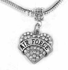 Airforce charm crystal heart style fits european bracelets Airman charm only