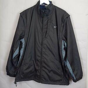 Vintage Nike Clima Fit Mens Black Windbreaker Zip Jacket XXL Detachable Sleeve