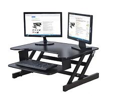 "Rocelco® Height Adjustable Standing Monitor Desk Riser ADR 32"" wide Black Finish"