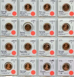 """LINCOLN CENT """"FROSTED PROOF"""" 16 DIFFERENT DATES 1992-2017-S"""