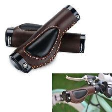 Real Leather Shockproof MTB Road Bike Bicycle Grip Handlebar Grips 1Pair