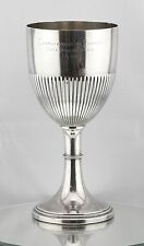 "Large Chinese / Asian Export Coin Silver Goblet Cup Trophy Signed 10.75"" Tall"