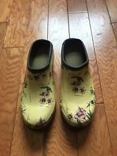 Laura Ashley Yellow Floral Garden Clogs - Size 6.5