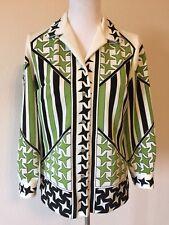 Vintage 70s Shirt Jacket est. size Medium Polyester Knit Star Print