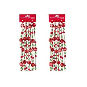 9 Ft Red Green and Silver Shiny Bead Christmas Garland Set of 2