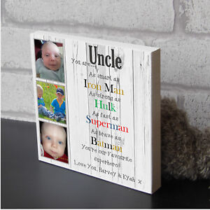 Personalised Uncle Brother Dad Superhero Freestanding Wooden Plaque Gift