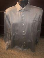 Robert Graham Men Long Sleeve Button Shirt 46/18  36/37 Tall Black/Gray