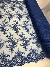 Wholesale fabric By Roll 20 Yard-Lace Fabric Embroidered With flower Royal Blue