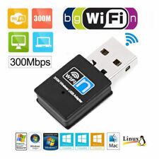 USB WLAN Adapter Stick 300Mbps Dual Band 2.4GHz WIFI Dongle Wireless Win PC Mac