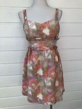 SEDUCE 100% Silk Watercolour Pink Cocktail Party Dress - Size 10