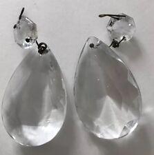 """2 Chandelier Crystals Teardrop Glass Prism Lamp Vintage 2"""" Lot"""