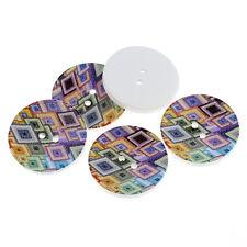 5 Extra Grande (40 mm) botones Madera Diseño Geométrico Brillante,