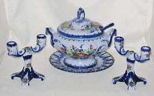 Vestal Alcobaca - Portugal - 2 Candleholder & Soup Tureen w/ Lid, Ladle & Plate