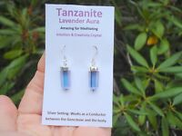 Tanzanite Lavender Double 6 Sided Point Earrings-Creativity! Platinum+Infused!