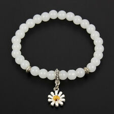 1Pc White/Pink Beaded Bangle Enamel Sunflower Pendant Bracelet Gift Jewelry