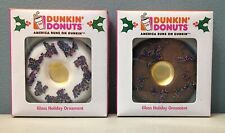 Two  Dunkin' Donuts Kurt Adler Glass Holiday Ornaments '07 Chocolate Vanilla