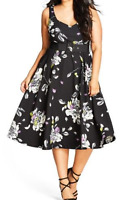 City Chic Floral Sketch Fit And Flare Dress In Black Size Medium (18)