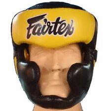 New Fairtex hg 13 Head Guard - Lace Up Head Boxing, Muay Thai Black/Yellow Japan