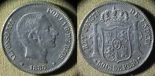 Philippines : 1885 50 Ct Xf-Au Couple Rim Dings #150 Stock Picture Ir5064