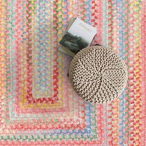 Capel Rugs Babys Breath Soft Chenille Braided Concentric Area Rug Tea Rose 510