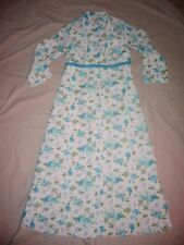 Vintage Retro 50s 60s Nylon Quilted Dressing Gown Floral Night Robe House Coat