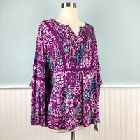 SIZE 1X Style & Co Purple Floral Boho Peasant Top Blouse Shirt Women's Plus NWT